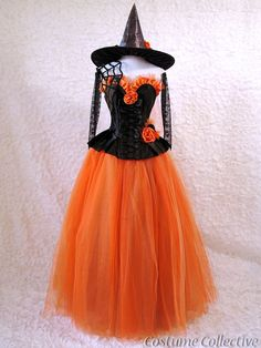 Spider Web Witch Costume - Black & Orange Corset Dress with Tulle Skirt, Spiderwebs, Gloves and Hat - ETSY costumecollective