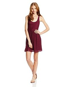 Roxy Juniors Take Me Away Lace Dress, Grape Wine, X-Small  - Click image twice for more info - See a larger selection of junior dresses at - http://girlsdressgallery.com/product-category/teen-dresses/ - juniors, womens, teens, teenager, dresses, girls, ladies, girls fashion