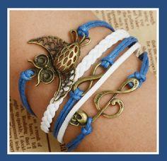 Blue & White Owl, Music Note Skull and Infinity Multi Layered Wrap Bracelet - Bracelets owl,  music note