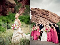 Pink wedding inspiration from a  Colorado wedding with a pink and green color palette. Via Brenda's Wedding Blog