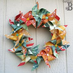 Capital B: Pinspired Pinwheel Wreath, maybe red white and blue for July 4th?