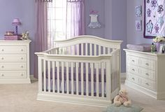 Trends 2014 Traditional Nursery Room Design Ideas : Adorable Lavender Traditional Nursery Room Design with White Standart Baby Crib and Whit...