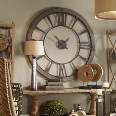 """06084 Ronan Large Wall Clock Oversized wall clock features a dark, rustic bronze finish accented with a rust gray frame. Requires one """"AA"""" battery. Decor, Large Metal Wall Clock, Foyer Decorating, Metal Walls, Big Wall Clocks, Home Decor, Barn Wood Frames, Metal Wall Clock, Shabby Chic Homes"""