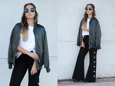 Get this look: http://lb.nu/look/8425489  More looks by Claudia Villanueva: http://lb.nu/ctrendencies  Items in this look:  Zero Uv Sunglasses, Zara Bomber Jacket, Zara T Shirt, Stylewe Pants   #casual #chic #street #bomberjacket #flaretrousers #buttonup #trends #style #outfit