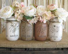 SALE Set of 4 Pint Mason Jars Ball jars by RusticGlamDesigns