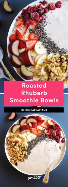Get ready to give your acai bowls a run for their money. These rhubarb bowls are similarly sweet and tart, and can be topped with whatever nuts, seeds, and fruits you've got on hand. Chia seeds, chopped walnuts, coconut flakes, and berries all sound good.