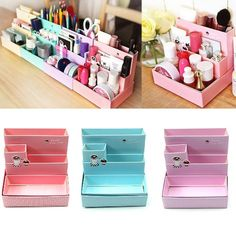 DIY Paper Board Storage Boxes New Fashion Desk Decor Stationery Korean  Style Makeup Cosmetic Organizers E2shopping