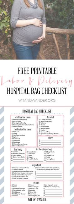 Printable Maternity Hospital Bag Checklist - Wit & Wander What should I pack for labor? Here is a FREE Printable Hospital Bag Packing List Checklist + 10 things NO ONE tells you to pack in your maternity bag! Baby On The Way, Baby Kind, Doula, Pregnancy Hospital Bag Checklist, Pregnancy Tips, Baby Checklist, Packing Hospital Bag, New Born Checklist, Diaper Bag Checklist