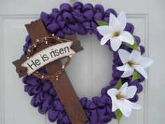 Easter Wreath Spring wreath Easter Cross by ChloesCraftCloset