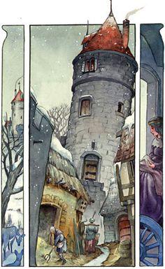 castle watercolors | winter castle interior illustration watercolor