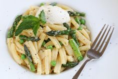 Spring Asparagus, Pea & Mint Penne with Ricotta