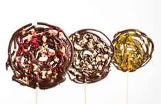 Dark Chocolate Lollipops : Red Fruit, Orange Salt & Powdered Caramel. (This blog is a photo paradise of food fantasies!)