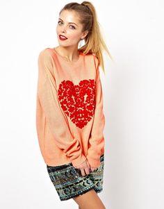 ASOS Baroque Heart Jumper