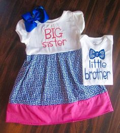 3dd8878c Items similar to Big Sister Little Brother Outfits Set- Big Sister Dress  Little Brother Bow Tie Onesie on Etsy