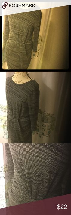 Charcoal trendy fitted knot waist midi dress Fitted light knit charcoal dress never worn...just not really my style. Very on trend! Great with tights and heels. Slightly sheeer. Has stretch. Size large fits like 8-10 kinsley Dresses