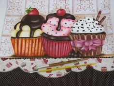 Inspirações da Semana - Blog da Pintura Condor Cupcake Illustration, Tole Painting, Fabric Painting, Deco Podge, Sweets Art, Cupcake Tutorial, Country Paintings, Applique Patterns, Painting Patterns