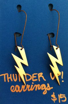 OKC Thunder Lightning Bolt Earrings. $15.00, via Etsy.  GO THUNDER!