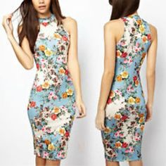 Sexy sleeveless floral printed bodycon slim fit party dress