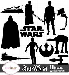 SUMMER SALE Star Wars Silhouettes Instant by LunaLumucClipart