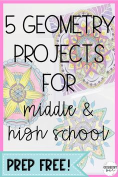 Geometry Projects for middle and high school! 5 different projects with descriptions and student samples. Great for the end of the year! Educacion Geometry Projects for middle and high school! 5 different projects with descriptions and stud Teaching Geometry, Geometry Activities, Math Activities, Math Games, Teaching Science, Science Experiments, Teacher Resources, Geometry Lessons, Teaching Themes