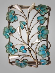 Levinger and Bissinger silver, pearl and plique-a-jour enamel plaque de cou, c. 1900.