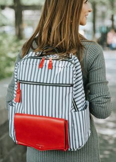 TWELVE little - Peek-a-Boo Backpack in Grey Stripe/Red | Queen Bee Nappy Change, Nappy Bags, Nursing Pads, New Mums, Red Queen, Queen Bees, Baby Design, Peek A Boos, Grey Stripes