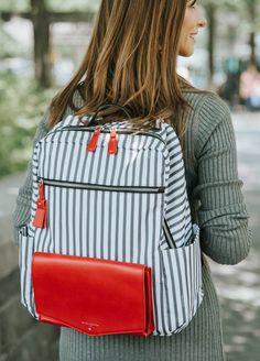 TWELVE little - Peek-a-Boo Backpack in Grey Stripe/Red | Queen Bee