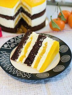 Tort Fanta, blaturi umede de cacao, crema de brânza și jeleu de portocale Chef, Sushi, Panna Cotta, Cheesecake, Deserts, Pudding, Ethnic Recipes, Food, New York