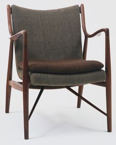"Armchair (model 45)      			 Finn Juhl (Danish, 1912–1989)      			   	              	              	         	1945. Teak and wool, 31 3/4 x 24 x 31"" (80.6 x 61 x 78.7 cm). Manufactured by Niels Vodder, Allerod, Denmark"