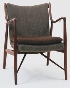 "Armchair (model 45)       Finn Juhl (Danish, 1912–1989)                                              1945. Teak and wool, 31 3/4 x 24 x 31"" (80.6 x 61 x 78.7 cm). Manufactured by Niels Vodder, Allerod, Denmark"