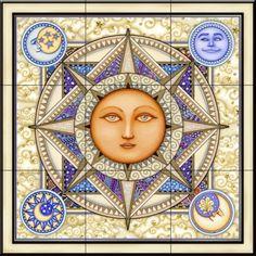 Celestial tiles-Sun and Moon-Celestial Dreams-Tile Mural Sun Moon Stars, Sun And Stars, Pictures Of The Sun, Sacred Garden, Good Day Sunshine, Decoupage, Sun Art, Compass Rose, Tile Murals