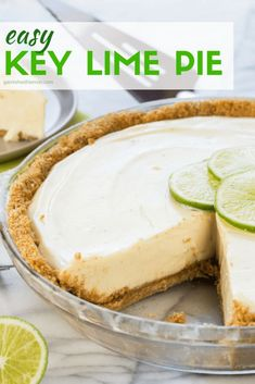 Easy Key Lime Pie is the perfect dessert any time of year!This Easy Key Lime Pie is the perfect dessert any time of year! Easy Pie Recipes, Lime Recipes, Baking Recipes, Easy Key Lime Pie Recipe No Bake, Key Lime No Bake Pie, Lemon Lime Pie Recipe, Key Lime Pie Recipe With Cream Cheese, Authentic Key Lime Pie Recipe, Key Lime Desserts