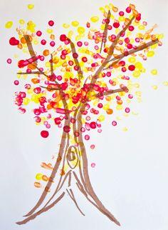 Fine art for kids: Pointillism fall tree