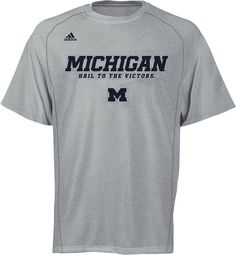 Michigan Wolverines Adidas Heather Grey Climalite Sidelines Slogan Shirt