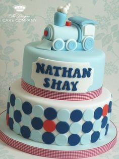 Choo choo train christening cake By Bambalini on CakeCentral.com