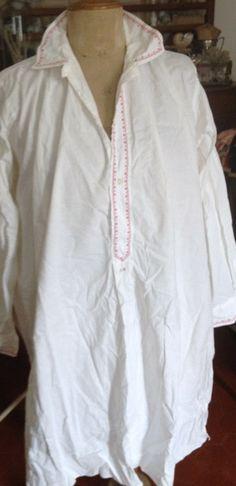 French sleep shirt w/traditional embroidery FleaingFrance Brocante Sacai Luck, Shops, Moss Stitch, Nighty Night, Pattern Library, Sleep Shirt, Diy Bed, Virtual Closet, Knit Patterns