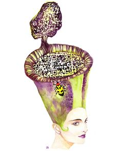 Australian artist Yiying Lu has designed Beautiful Traps, an art series of watercolored women wearing carnivorous plant hats where each incorporates a working QR code. She has created 7 carnivorous plants for the series: Rafflesia Arnoldii, Sundew, Voodoo Lily, Venus Flytrap, Sarracenia Leucophylla, Nepenthes Truncata and Nepenthes Rafflesianaan.  http://laughingsquid.com/beautiful-traps-carnivorous-qr-code-art-stop-motion-by-yiying-lu/