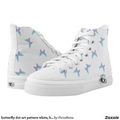 butterfly dot art pattern white, blue, purple shoe printed shoes