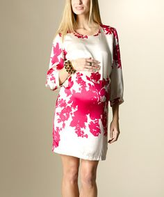 Take a look at this Fuchsia & White Hampton Silk Maternity Dress by Rosie Pope Maternity on #zulily today! $149.99