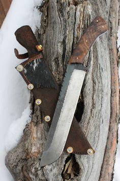 Large leaf spring camp knife by AHKnives on Etsy