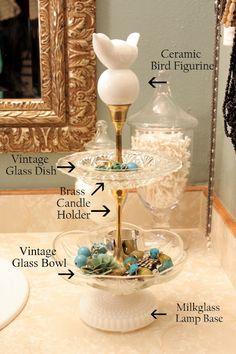 Tiered Jewelry Stand  http://sweetsomethingdesign.blogspot.com/2012/02/tiered-jewelry-stand-diy.html?utm_source=feedburner&utm_medium=email&utm_campaign=Feed%3A+blogspot%2FeeLIK+%28Sweet+Something+Designs%29
