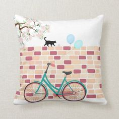 Spring Cherry Blossom Cat Bicycle Illustration Throw Pillow