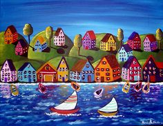 Colorful Shoreline Houses Sailboats Whimsical Original Folk Art Painting via Etsy