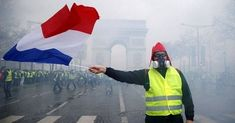 Violent anti-Government Yellow Vest protests continued in France today - despite a ban on street gatherings because of the killer coronavirus. Riot Police, First Anniversary, Champs Elysees, Shit Happens, Street, Yellow Things, Yellow Vests, Gilets, Pin