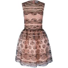 Redvalentino Polka Dot Lace Dress ($290) ❤ liked on Polyvore featuring dresses, pink, pink party dress, party dresses, lace party dresses, pink lace dress and pink long sleeve dress