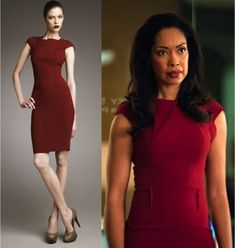 Who wore it better? Roland Mouret's Brownlow stretch cotton-blend dress as seen on Gina Torres