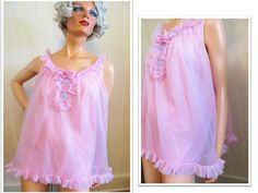 Vintage 50s 60s Babydoll Shortie Nightie Pajama Top, Rose Pink Nylon, Rockabilly Lingerie Double Layer Ruffles Mad Men Bombshell Baby Doll