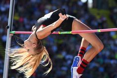 The Day in Sports Photos Madeline Fagan competes during the women's high jump qualifying in the 2016 U. Olympic track and field team trials in Eugene, Oregon. Oregon Track And Field, Olympic Track And Field, Olympic Team, Track Field, High Jump Women, Olympia, Cultural Architecture, Track Pictures, Pole Vault