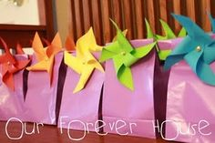 Our Forever House: Rainbow Pool Party: Part 2 Rainbow Party Favors, Rainbow Parties, Rainbow Birthday Party, Party Favor Bags, Birthday Parties, Gift Bags, Goody Bags, Birthday Ideas, 8th Birthday