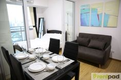 & or & if short term, fully furnished, sqm. Be our FIRST tenant. Brand new fully furnished unit with balcony located at Mandaluyong, just across Rockwell, Makati mins away) 1 floor below the penthouse with a view facing Rockwell. Condo Design, Makati, Pent House, Double Beds, Balcony, The Unit, Flooring, Bedroom, Table